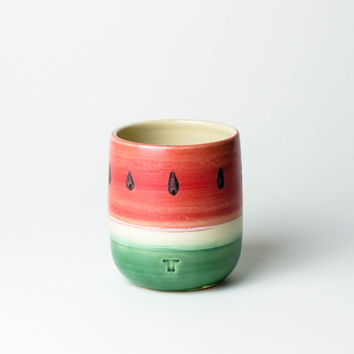 Cups watermelon for small and large children / / Cup in melon optics made of ceramic / / thrown Cup with mat glaze