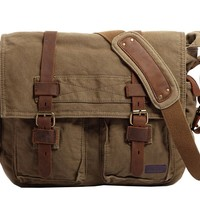 "Berchirly Vintage Military Men Canvas Messenger Bag for 14.7"" Inch Laptop"
