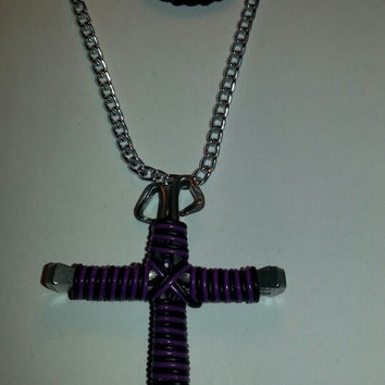 Neon purple and black candy cane wire wrapped horseshoe nail cross necklace jewelry