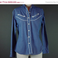 50% OFF 70s Blue Western Shirt Vintage 1970s White Arrow Button Front Cowgirl Cotton Blend