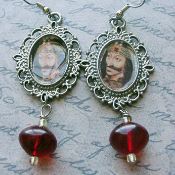 Vlad the Impaler Earrings with blood drop beads dangle earrings Vampire jewelry gothic earrings