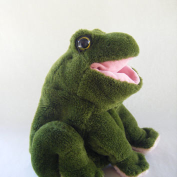 Vintage Green Frog Hand Puppet Plushie Toy Children Play Puppet Show Stuffed Kids Parenting Ribbit