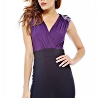 Purple&Black Sleeveless V-Neck Dress with Sequin Shoulders