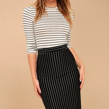 Line Up Black Pinstripe Pencil Skirt