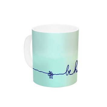 "Monika Strigel ""Be Happy Aqua"" Simple Blue Ceramic Coffee Mug"