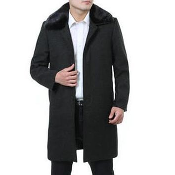 New winter autumn black casual trench coat men's cashmere coats good quality business long wool coats mens clothing big size 5XL