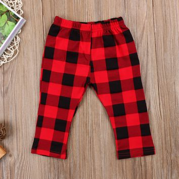 Fashion Newborn Kids Baby Girls Boys Plaid Pants Leggings Bottoms Clothes Infant Baby Boy Girl Plaid Pants 0-3Y