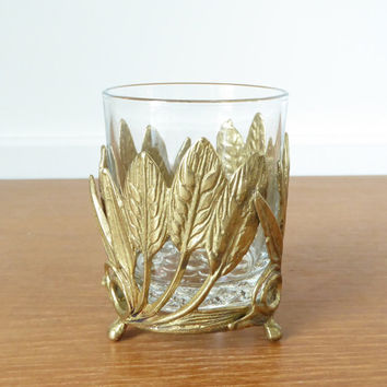 Brass leaf wrapped glass candle holder, pencil cup