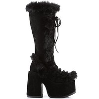 Demonia Black Furry Winter Faux Fur Boots