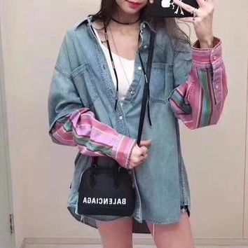 """Balenciaga"" Women Fashion Tartan Retro Letter Stitching Stripe Long Sleeve Denim Cardigan Small Coat"
