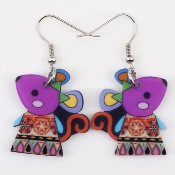 Drop mouse earrings acrylic dangle pattern new spring summer girls woman fashion jewelry accessories cute animal