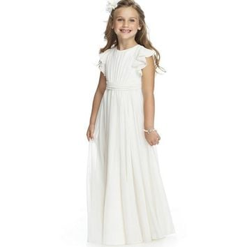 Cheap White Beach Flower Girl Dresses Long Simple O neck Junior Chiffon Ruffles Cap Sleeve Little Girl Wedding Party Dress 2015