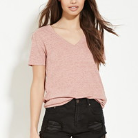 Heathered V-Neck Tee | FOREVER 21 - 2000168995