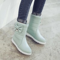 Sialia Snow Boots For Girls Winter Female Children Boots Kids Shoes Slip-on Butterfly-knot Mid-Calf chaussure fille botas nino