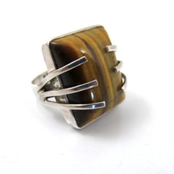 Sterling Modernist Tiger Eye Ring, Unique Claw Setting Large Knuckle Statement Ring, Danish Style Tiger Eye Jewelry Size 7