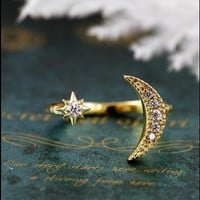 Moon Star Crystal Adjustable rings