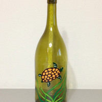Wine Bottle Tiki Torch Table Top With Painted Turtle