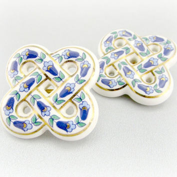 Vintage Blue Flower Earrings, Delft Pottery Style Earrings, White Porcelain Knot Earrings, 1970s Costume Jewelry, Mothers Day Gift For Mom