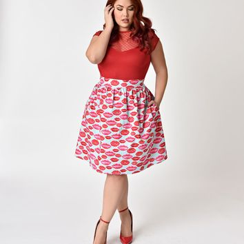 Folter Plus Size Light Blue & Red Glitter Lips Cotton A-Line Skirt