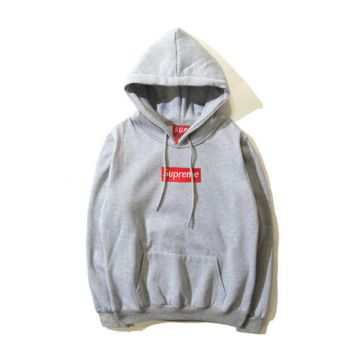 Street tide letters Box Embroidery seal Hooded hooded sweater coat Gray