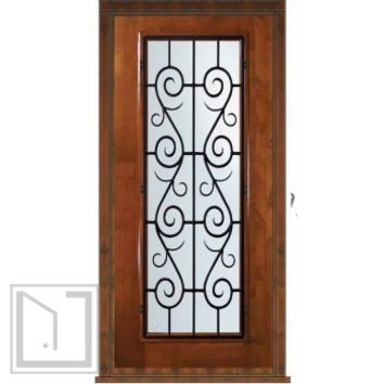 Prehung Single Door 80 Wood Alder St. Charles Full Lite Wrought Iron