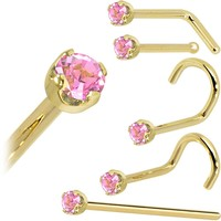 Solid 14KT Yellow Gold (October) 2mm Pink Cubic Zirconia Nose Ring