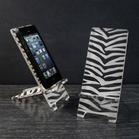iPhone 5 or iPhone 4 Phone Stand and 5 Docking Station - Acrylic Zebra Skin Pattern