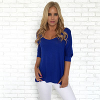 Freedom Jersey Blouse In Royal Blue