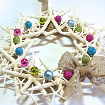 Bright Starfish Wreath- Rustic Burlap Wreath, Natural Starfish, Christmas Ornament Wreath, Nautical Beach Decor, Pink Blue Green Ornaments
