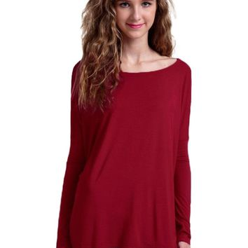 Authentic Piko Long Sleeve Top, Burgundy