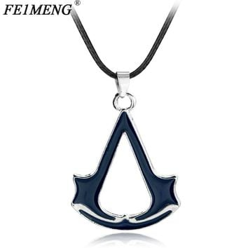 Popular Game Assassins Creed Necklace Vintage Ezio Deiss Mond Red Color Pendant Necklaces For Women Men Leather Rope Jewelry