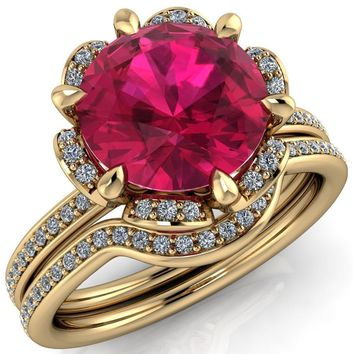 Daisy Round Ruby Floral Diamond Basket Design and Diamond Shoulders Ring