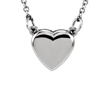 Polished 9mm Classic Heart Necklace in 14k White Gold, 18 Inch