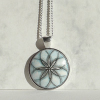 Mandala Necklace, Flower of Life, Hand Painted Jewelry, Light Blue Pendant, Floral Necklace, Modern Flower Design Necklace, Symmetrical Art
