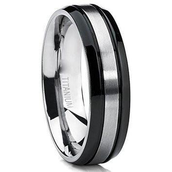 Two Tone Black Titanium Men's Wedding Band Ring, Flat Top Beveled Edge, Comfort Fit 6mm