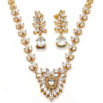 Gold Layered 06.205.0007 Necklace and Earring, Leaf Design, with White Cubic Zirconia, Polished Finish, Gold Tone