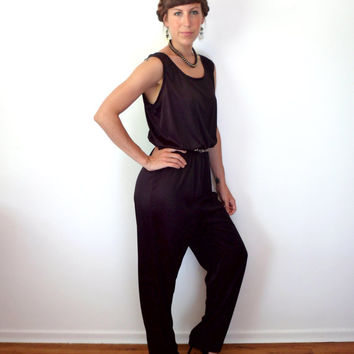 70's 80's Black Disco Jumpsuit