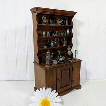 Pewter Miniatures Collection with Original Wooden Cupboard Display Franklin Mint Limited Edition Colonial American Collectible Set 32 Pieces