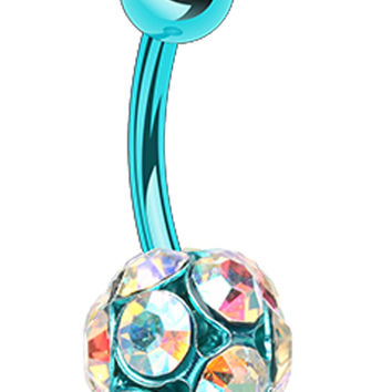 Colorline Sparkle Multi Glass-Gem Belly Button Ring