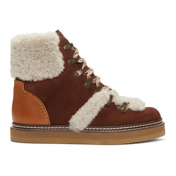 Brown Lace-Up Ski Boots