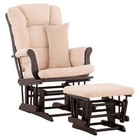 Stork Craft Custom Tuscany Glider and Ottoman - Black/ Beige Fabric
