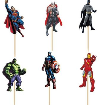 Batman Dark Knight gift Christmas 720pcs Super Hero Action Figure Captain America Batman Hulk Cupcake Toppers Picks boy Kids birthday party party decorations AT_71_6