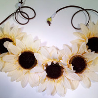 Off White Sunflower Headband, Flower Crown, Flower Halo, Festival Wear, EDC, Ultra Music Festival, Coachella