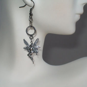Antique Silver Faerie Earrings, Fairy Earrings, Dangling Sprites, Forest Spirits, Tinkerbell, Sugar Plum Fairies