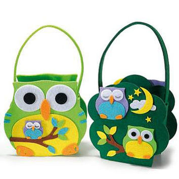 Owl Felt Basket Candy Case Children Handbag