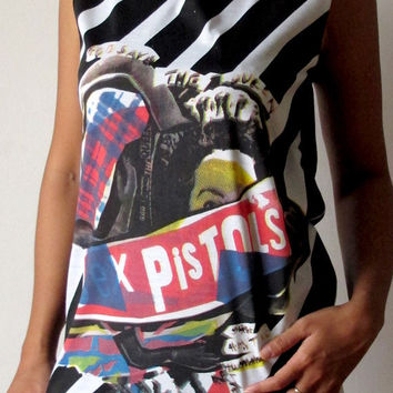 Sex Pistols God Save The Queen Shirts Women Tank Top black  Sex Pistols Shirt Tunic Top Vest Sleeveless Women T-Shirt Size M unisex cotton