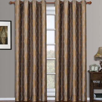 Gold Savanna Pair (Two Panels ) Jacquard Grommet Window Curtains
