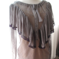 Victorian Romantic Sheer Violet Draped Blouse // Vintage 80s