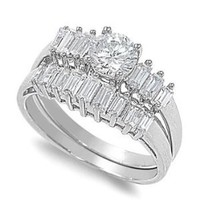 Sterling Silver Round Cut Cubic Zirconia Baguette CZ Side Stones Engagement Bridal Ring Set