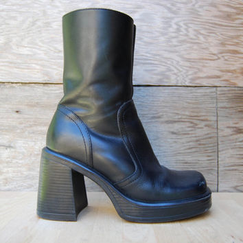 424736addfe Vintage 90's Black Chunky Heel from CaddisEclectica on